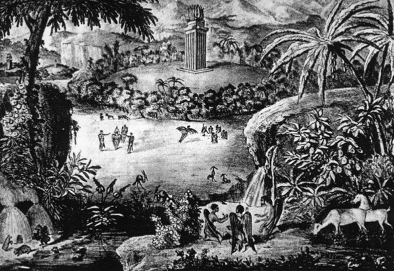 Радужная Бухта и Лунный храм. Литография из газеты «Sun», 25 августа 1835 г.