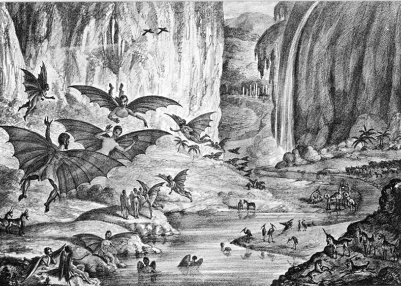 Лунные мышелюди, животные и пейзаж. Литография XIX века
