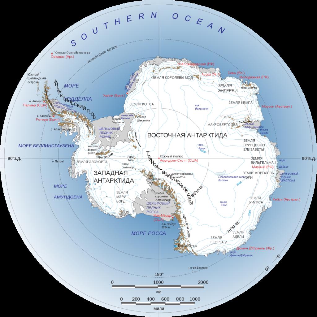 Карта Антарктиды -самая высокая температура в антарктиде