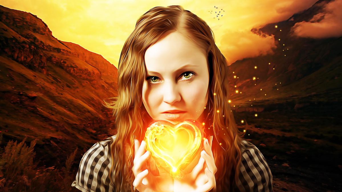 девушка с огненным сердцем