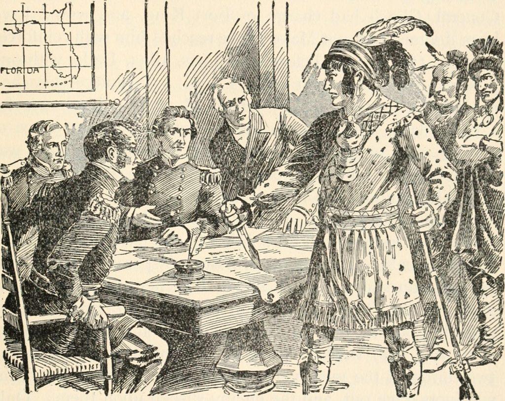 Оцеола на переговорах с генералами