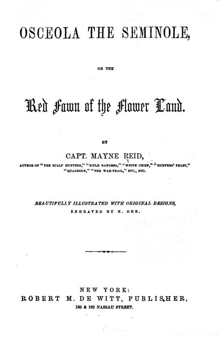 Титульный лист романа Томаса Мейна Рида «Оцеола вождь семинолов»