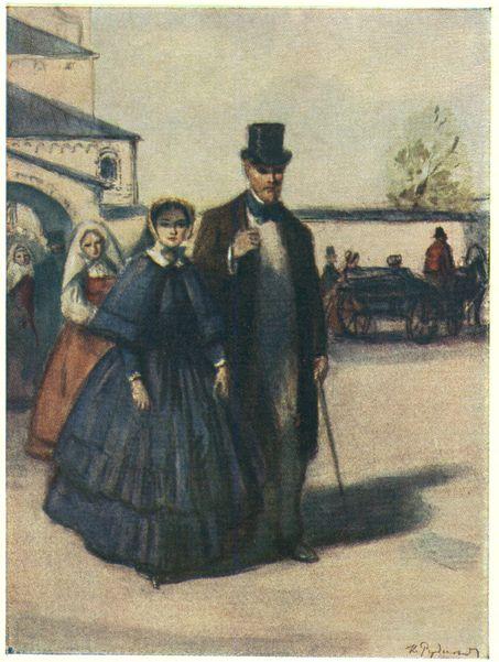 Лаврецкий и Лиза выходят из церкви. Иллюстрация К.И.Рудакова