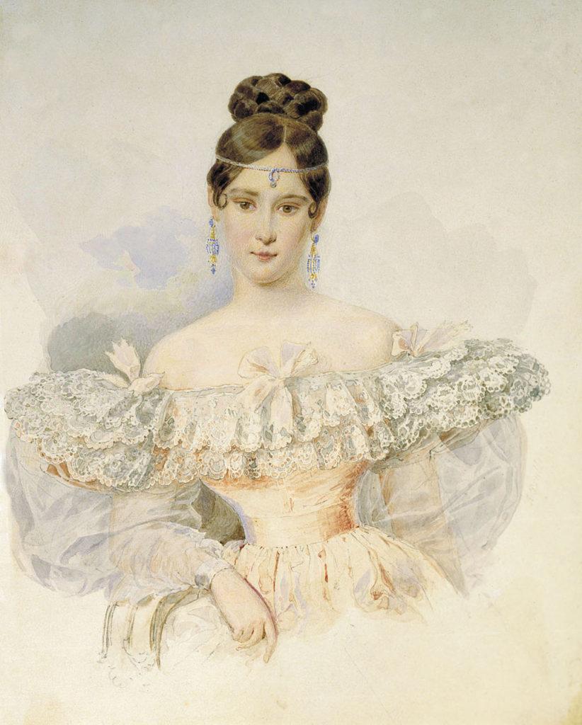 А. П. Брюллов. Портрет Н. Н. Гончарова (Пушкиной). Акварель, 1831—1832