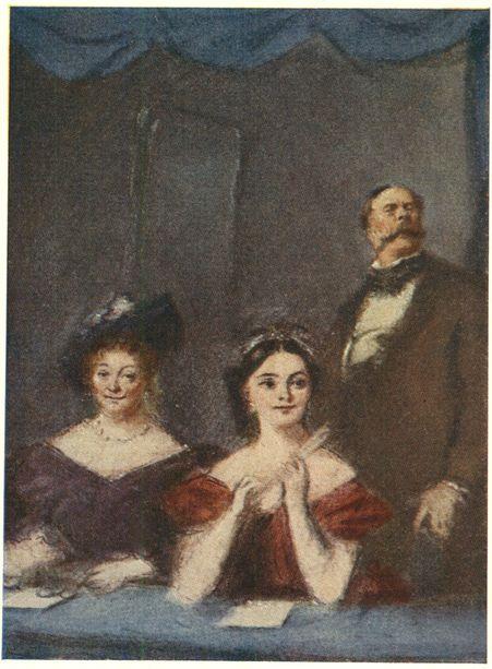 Семья Коробьиных в театре. Иллюстрация К.И.Рудакова