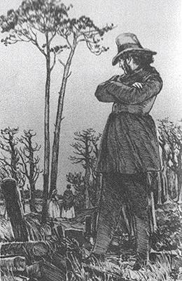 Объяснение Рудина с Натальей в саду. Иллюстрация Д. Н. Кардовского