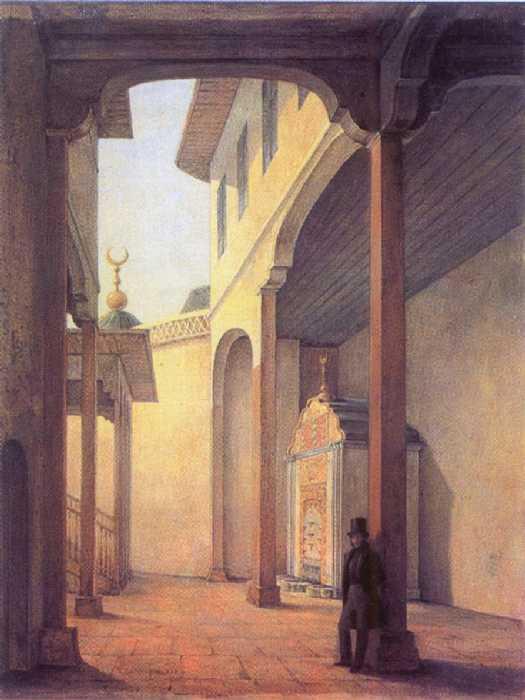 Г. Г. Чернецов. Пушкин в Бахчисарайском дворце. 1837.