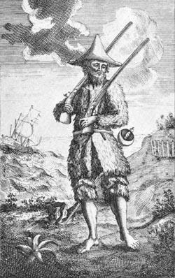 """Единственная иллюстрация в первом издании """"Робинзона Крузо"""" 1719 года, гравюра Джона Кларка и Джона Пайна"""
