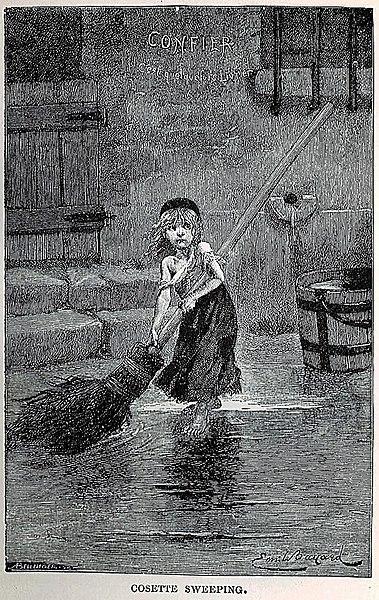 «Козетта». Иллюстрация из первого издания 1862 года. Автор Эмиль Байяр Cândido Aragonez de Faria (Laranjeiras (Brésil), 12 août 1849 - Paris, 17 décembre 1911), Колумбийский университет в Нью-Йорке