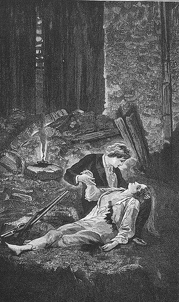 """Смерть Эпонины из """"Отверженных"""". Автор Fortuné Méaulle"""