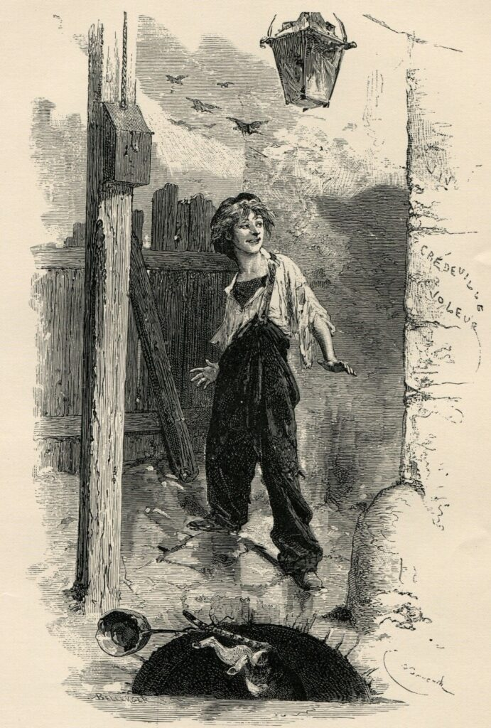 Гаврош, иллюстрация Эмиля Байяра (1862)