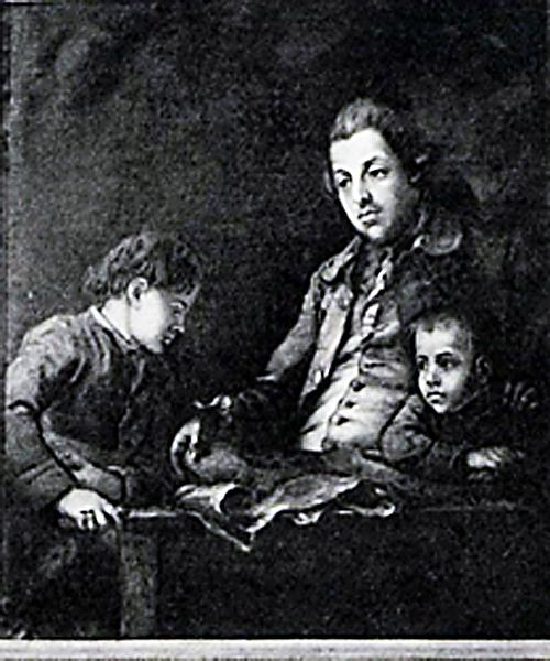 Тимофей Степанович Аксаков (отец писателя) с двумя сыновьями: старшим, Сергеем, и младшим, Николаем. Картина неизвестного художника конца XVIII века.