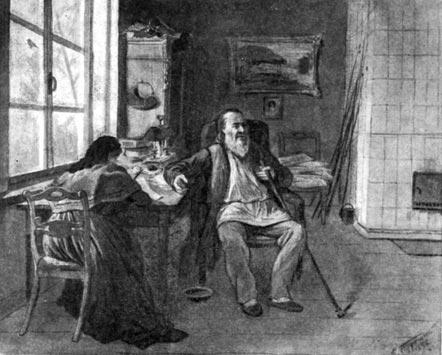 С. Т. Аксаков диктует дочери свои воспоминания. Акварель К. А. Трутовского. 1892 г.