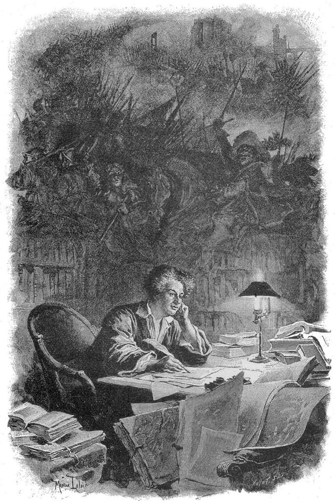 Дюма за работой (гравюра 1890-х годов)  Лелуар, Морис