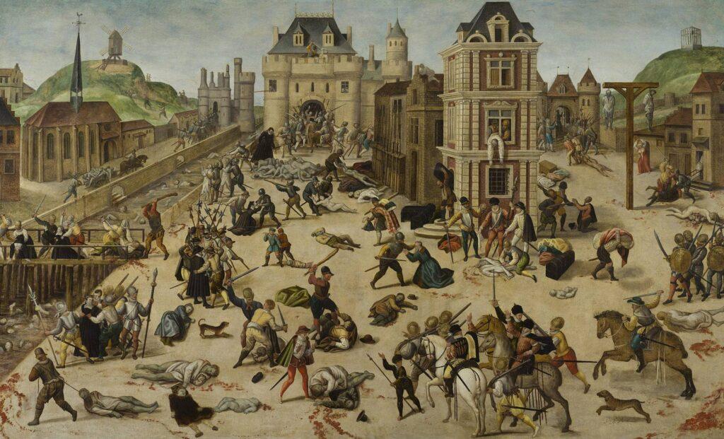 Массовое убийство гугенотов-протестантов в Париже, организованное французским королём Карлом IX и его матерью Екатериной Медичи (католиками) и начавшееся в воскресенье, в ночь на 24 августа (праздник св. Варфоломея) 1572 года